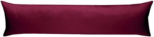 Bettwaesche-mit-Stil Mako-Satin Seitenschläferkissen Bezug aus 100% Baumwolle (Baumwollsatin) Uni/einfarbig (40 cm x 145 cm, Anthrazit)