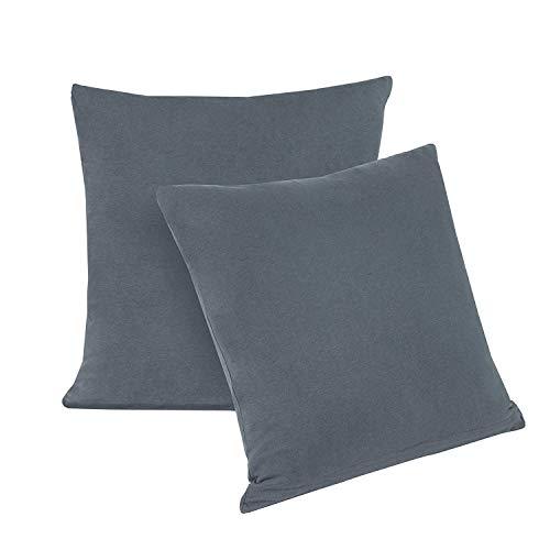 Doppelpack Serie Jersey Kissenbezüge mit Reißverschluss aus 100% Baumwolle in 12 modernen Farben und 5 Größen (40 x 145 cm (Stillkissenbezug), Anthrazit)