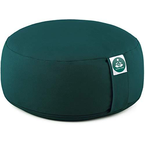 Present Mind Meditationskissen - Yogakissen Rund Zafu - Hergestellt in der EU - Sitzhöhe 16 cm - Waschbarer Bezug - 100% Natürliche Yoga Sitzkissen (Smaragdgrün)