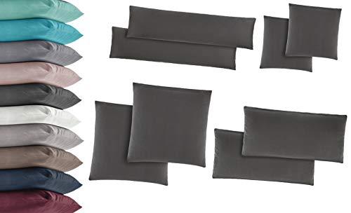 2er Pack Jersey Kissenbezug Kissenhülle Kissenbezüge Seitenschläferkissen 100% Baumwolle viele Größen und Farben 40x145 cm Weiss