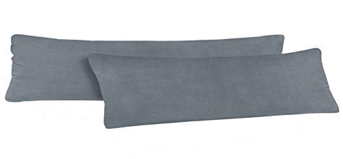 Seitenschläferkissen Bezug 40 x 145 cm   100 % Baumwolle   Öko-Tex   2er Set   Hochwertiger Jersey   Kissenhülle   Anthrazit/Grau