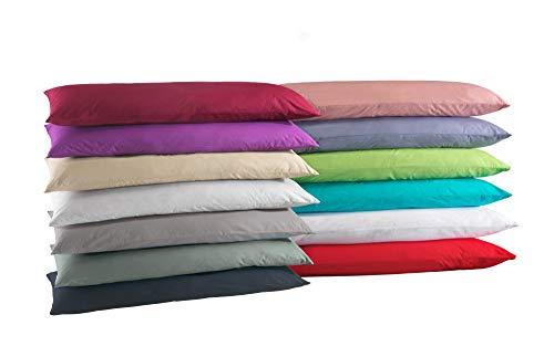 Doppelpack Baumwolle Renforcé Kissenbezug, Kissenbezüge, Kissenhüllen für Seitenschläferkissen 40x145 cm in 8 modernen Farben Weiss