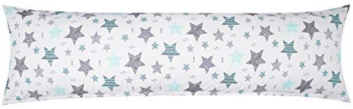 Heubergshop Baumwoll Renforcé Seitenschläferkissen Bezug 40x145cm - Sterne mit kreisen und Punkten in Weiß - 100% Baumwolle Stillkissenbezug (KY-560-1)