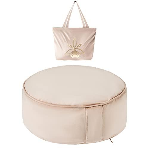 Nolavea - Zafu Meditationskissen Yoga - Samt-Transporttasche und Griff - 2 Bezug Reißverschluss : 100% Baumwolle und Samt - Buchweizen mit Lavendelduft - Beige