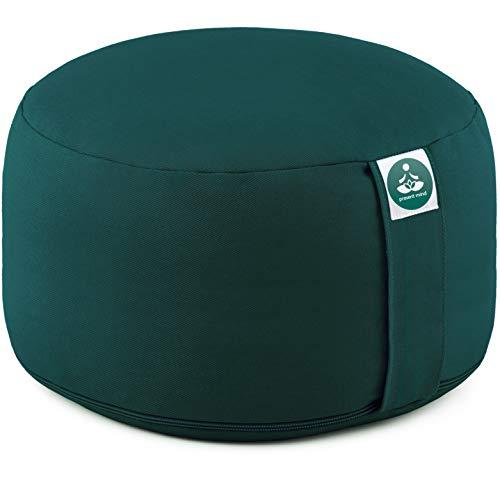 Present Mind Yogakissen Rund Extra Hoch (Sitzhöhe 20 cm) l Farbe: Smaragdgrün l Yogakissen Meditationskissen Hoch l Hergestellt in der EU l Waschbarer Bezug l 100% Natürliches Yoga Sitzkissen