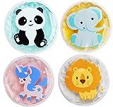 Kühlkissen Kühlpads Kinder,Kühlkissen Wärmekissen mit 4 verschiedene Cartoon Tier Motiv,Wiederverwendbare Kalt Warm Kompresse Kühlbeutel,für Beulen,Weisheitszähne,Fieberkühlung