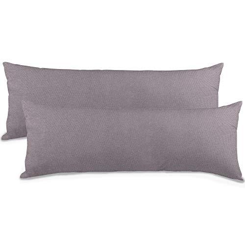 aqua-textil Classic Line Seitenschläferkissen Bezug 40 x 145 cm dunkel grau Baumwolle Kissenbezug Reißverschluss
