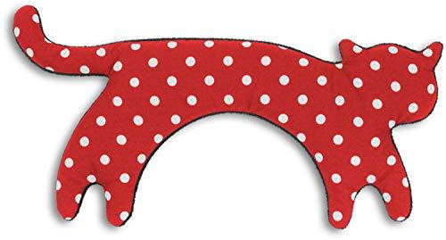 Leschi WÄRMEKISSEN löst Schulter- und Nacken-Verspannungen/für Mikrowelle und Ofen/Körnerkissen für Damen, Kinder und Babys/Katze Minina (Polka dot rot)