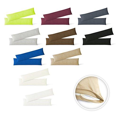 EXKLUSIV HEIMTEXTIL Jersey Kissenbezug Hülle 2 Sparpack Set mit Reißverschluss hochwertige Qualität 40 x 145 cm Sand