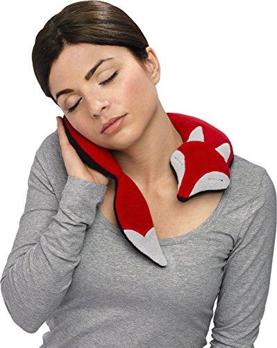 Leschi WÄRMEKISSEN löst Schulter- und Nacken-Verspannungen/für Mikrowelle und Ofen/Körnerkissen für Damen, Kinder und Babys/Fuchs Noah, rot schwarz grau