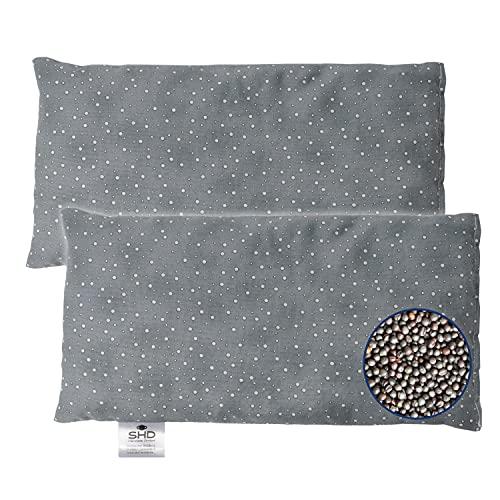 SHD Rapssamenkissen Körnerkissen für die Mikrowelle geeignet, 14x28 cm gefüllt mit Raps - Wärme, Kälte für Nacken und Schulter, Bezug aus Baumwolle, Made in Germany, Spacegrau 2x Set